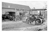 pt5458 - Steam Traction Engine Threshing , Plompton , Yorkshire - photograph 6x4