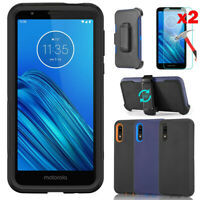 For Motorola Moto E6 Case Cover Belt Clip Fits Otterbox + Glass Screen Protector