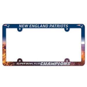 "New England Patriots Super Bowl 49  Champions 6""x12"" Plastic License Plate Frame"
