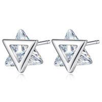 Muye S925 Sterling Silver Triangle CZ Stud Earrings For Women Girl Jewelry