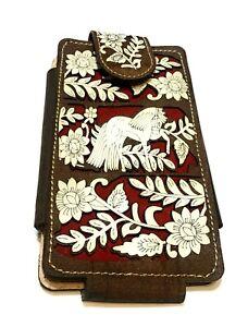 WESTERN LEATHER PHONE CASE HORSE DECORATED FUNDA VAQUERA DE CUERO, FUNDA CHARRA