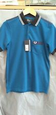 Fred Perry - Men's Polo Shirt -royal blue - gingham check - Small - Slim Fit -