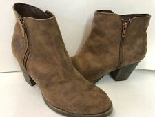 Womens Brown Ankle Boots Booties Heeled Size 11