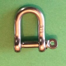 "Stainless Steel 316 Forged D Shackle 3/16"" (5mm) Marine Grade Dee"