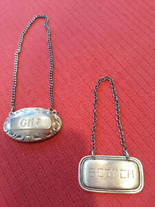 """VINTAGE TWO (2) STERLING SILVER LIQUOR TAGS  """"GIN & SCOTCH"""""""