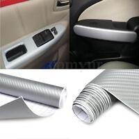 2m x 600mm 3D Carbon Fiber Vinyl Wrap Roll Film AUTO Car Home Wallpaper Silver