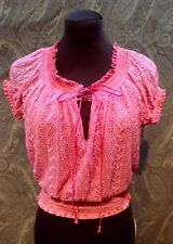 Womens Pink Lace Bebe Top Sz S