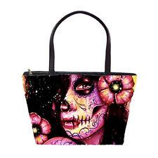 Tattoo Art Calavera Sugar Skull Girl Large Purse Pink Shoulder Handbag Punk Rock