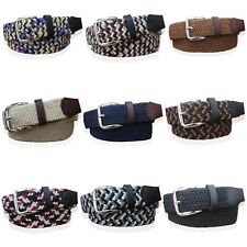 MENS WEBBING BELTS FAUX LEATHER TRIM LADIES ELASTICATED WOVEN BRAIDED STRETCH