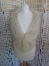 H&M DIVIDED Womens Cropped Faux Fur Gilet Jacket Size 8 Boho Festival Hippie F2