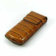 Brown Genuine Croco Embossed Leather Single Watch Travel Case WC-3464CRD