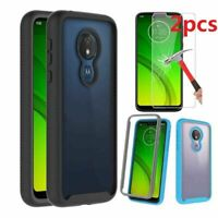 For Motorola Moto G7 Power/G7 Supra Case Shockproof Clear Cover+Tempered Glass