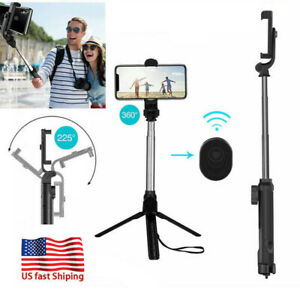 360° &225° Wireless Selfie Stick Tripod Stand Mount For iPhone Samsung Remote US