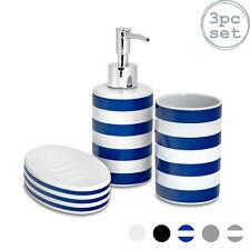 Bathroom Accessory Set 3 pcs Soap Dispenser, Dish & Tumbler - Blue White Stripe
