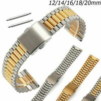 12-20mm Slim Style Stainless Steel Link Bracelet Metal Strap Watch Band w Pins