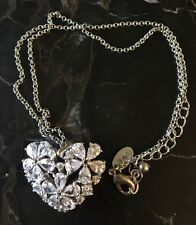 NOLAN MILLER HEARTS & FLOWERS CRYSTAL PENDANT NECKLACE QVC NEW