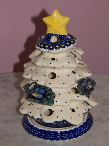 Polish Pottery Christmas Tree Tea Light! UNIKAT Signature Mila Pattern!