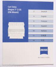 Carl Zeiss Biogon T* 2/35 Spec Sheet - En De Fr Es It Ja - USED B75