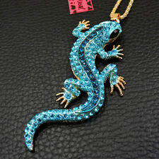 New Blue Bling Rhinestone Gecko Lizard Pendant Betsey Johnson Chain Necklace