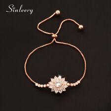 2017 Fashion Crystal Flowers Bangle Bracelets Cuff For Women Adjustable Chain