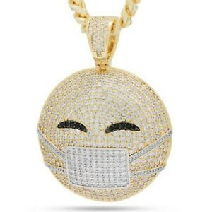 Hip Hop 14K Yellow Gold Over Silver Round Cubic Zirconia MASK EMOJI Pendant Moms