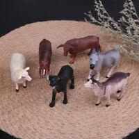 6x simulated farm animal sheep dog horse donkey ox cow set plastic model toys FE