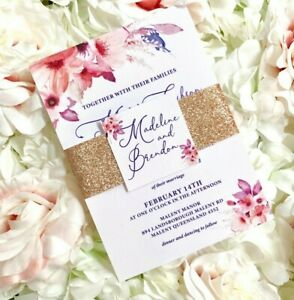 Wedding Invitation watercolour flowers blush pink or white with rose gold
