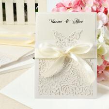 10pz. Inviti Partecipazioni Farfalla Carta Vuota + Busta Nastro Matrimonio Feste