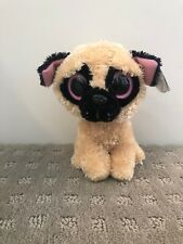 TY PUGSLY BEANIE BOOS IN CELLO-NEW RETIRED-VERSION W//GLITTER EYES RED MINT TAG