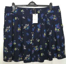 M&S Marks s22 Ladies Indigo Dark Blue Mix Floral Print ButtonUp Mini Skirt BNWT
