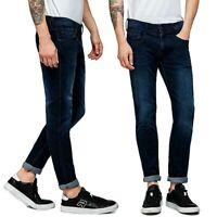 REPLAY jeans da uomo modello anbass slim pantalone denim blu scuro elasticizzato