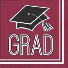 Graduation School Spirit Burgundy Lunch Napkins 36 per Pack
