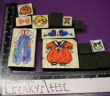 PAPER DOLL CHILD CLOTHES VINTAGE OVERALLS 13 FOAM RUBBER STAMPS #45 CREAKYAT