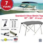 Standard Bimini Top 4 Bow Boat Cover Gray 61-66 Wide 8ft Long W Rear Poles