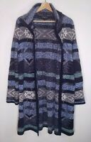 Spense Womens Cardigan Blue Aztec Print Open Front Duster Length Size Large