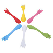 6pcs Plastic Camping Hiking Fork Spoon Knife Fork Combo Travel Cutlery SA