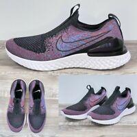 Nike Womens Epic Phantom React FlyKnit BV0415 002 Purple Black Laceless Size 10
