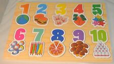 Wooden numbers 1 -10 puzzle & pictures 29.5cm x 21.5cm FREE POST  o15