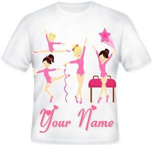 Kids GIRLS Pink Personalised Ballet Gymnastics Dance T SHIRT Birthday Gift Idea