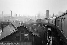 British Rail view approaching Leeds from train on viaduct line Rail Photo