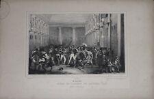 """Lithographie de RAFFET, """"Scène du cabinet de lecture"""", XIXème"""