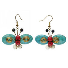Boucles d'oreilles papillon multicolore perles Pierres ailes BLEU spirale doré