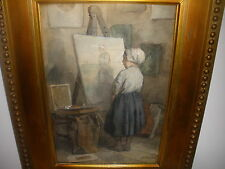19thc LISTED JOHANNES WEILAND DUTCH WATERCOLOR YOUNG GIRL SELF PORTRAIT PAINTING