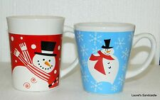 2 Christmas SNOWMAN Coffee Cups Mugs ~ Red & White One by Royal Norfolk