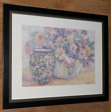 """Nancy Lund Print - 1980's estampado de flores, de 20"""" 16"""" Frame, Florero De Arte De Pared"""