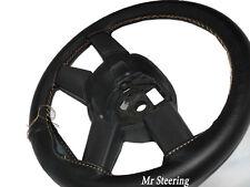 Para Man Tga Camión 00-07 Real De Cuero Negro cubierta del volante Beige Costura