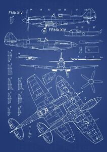 Supermarine Spitfire Aircraft Patent Print Airplane Bomber    Framed Unframed
