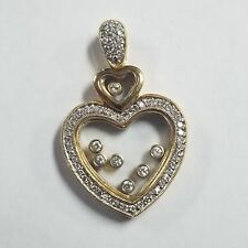 14k Yellow Gold Floating Diamond Heart Pendant Jewelry AB-FLTH75