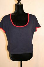 St. John Women's Cropped Pullover Sweater Short Sleeve Top size L red trimmed