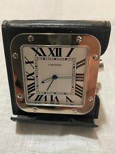 Perfect Cartier Santos Travel Alarm Clock with Black Leather Case
